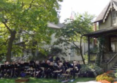 The band plays at on Frances Willard's birthday party.